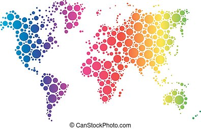 World map wallpaper mosaic of dots in rainbow spectrum colors on white background. Vector illustration
