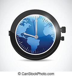 world map watch illustration design