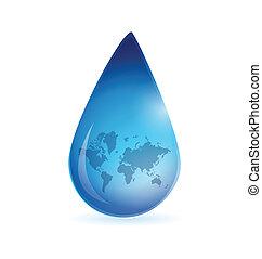 world map water drop illustration design