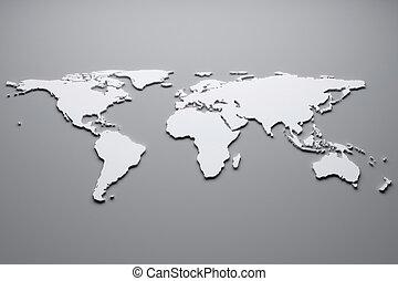 World map - White world map. 3d illustration.
