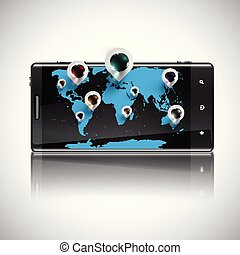 World map with 3D pins on a telephone, vector
