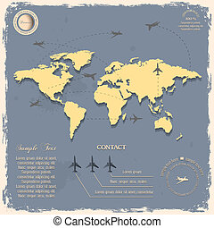 World map with aircrafts for design in vintage style. Vector...