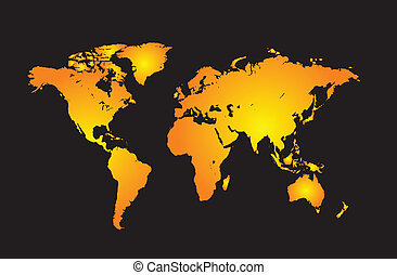 World map with all countries, and set of earth globes,...