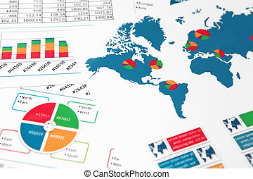 World map with charts, graphs and diagrams