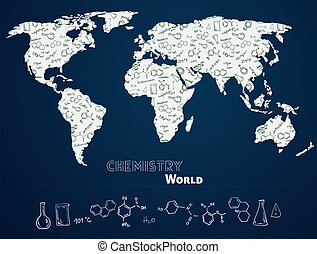 World map with chemistry background