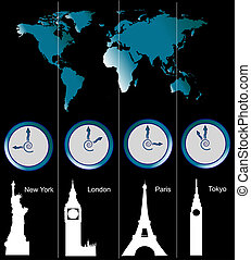 World map with clocks - Image of a world map with clocks ...