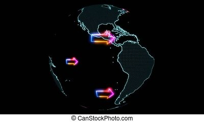 """""""World map with colorful arrows rotate to right hand or east..."""