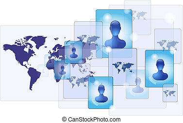 World map with communication networ