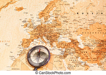 World map with compass showing Eurasia