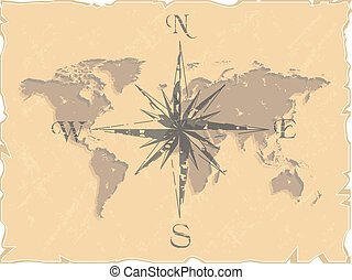 vector retro world map with compass rose vector illustration
