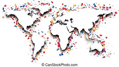 World map with confetti.