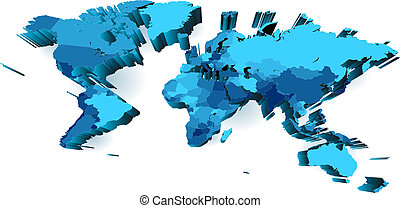 World map with countries, extruded with perspective