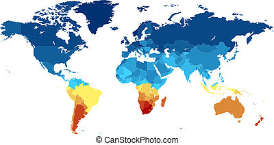 World map with countries in various colors