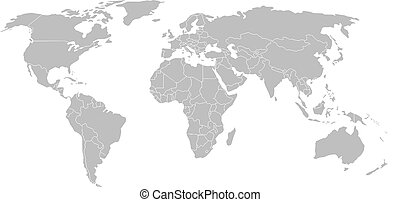 World map with country borders, isolated on white background.