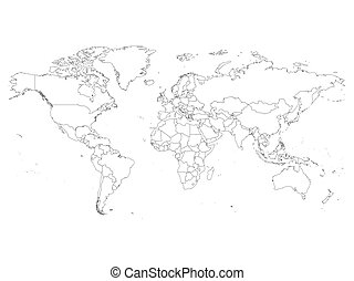 World map with country borders thin white outline on black world map with country borders thin black outline on white background simple high detail gumiabroncs Images