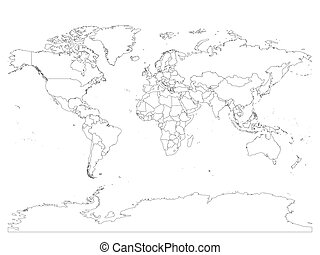 World map with country borders, thin black outline on white background. Simple high detail line vector wireframe
