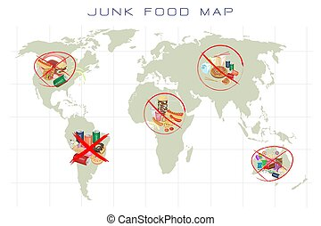 World Map with Fast Food and Take Away Food - Unhealthy...