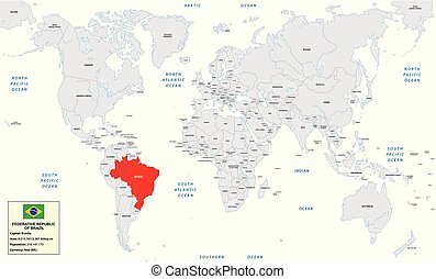 World map with Federative Republic of Brazil, small information box and flag