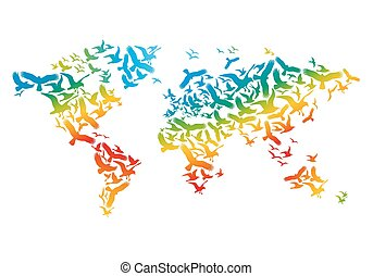 World map with flying birds, vector