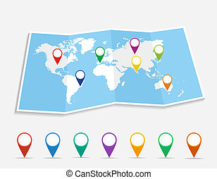 World map with geo position pins travel elements composition. EPS10 vector file organized in layers for easy editing.