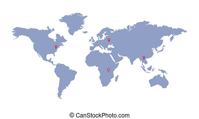 World map with geolocation markers. Global communication. ...