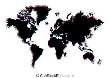 World map with glitch effect.