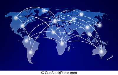world map with global network communication