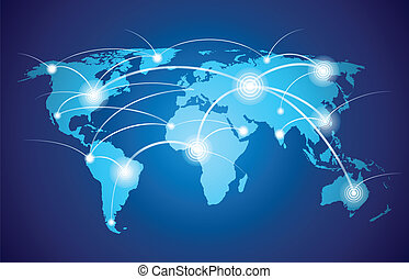 World map with global network - World map with global ...