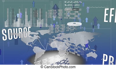 World map with graphs and statistics - Digital animation of ...
