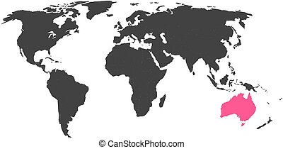 World map with highlighted Australia