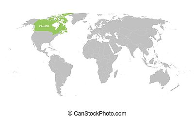 world map with indication of Canada