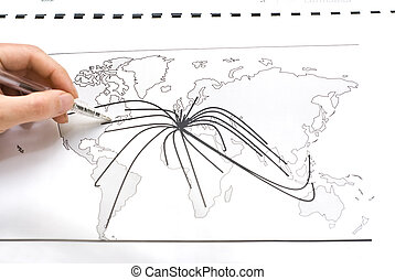 World map with lines between the cities