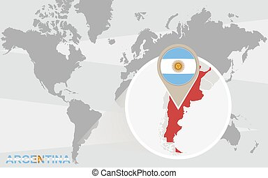Argentina flag and map world map with magnified argentina gumiabroncs Image collections
