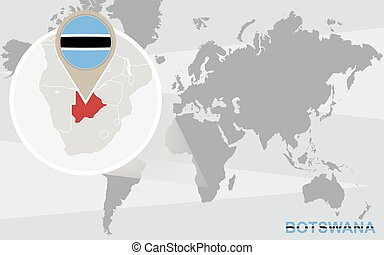 World map with magnified Botswana. Botswana flag and map.