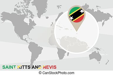 World map with magnified Saint Kitts and Nevis
