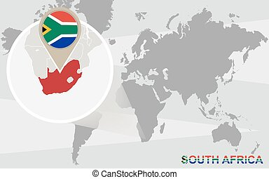South africa on world map africa with highlighted south vector world map with magnified south africa gumiabroncs Choice Image