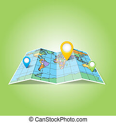 World map with Map Pins Pointer Icons.