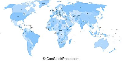 World map with names of sovereign countries and larger dependent territories