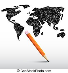 World Map with Pencil