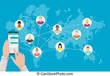 World map with people avatars. Social netwroking.
