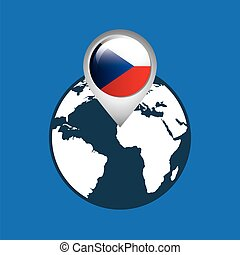 world map with pointer flag czech republic