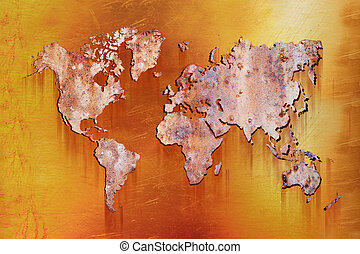 world map with rusty metall