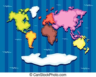World map with seven continents