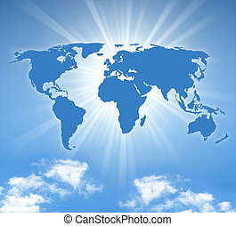 world map with sund and a blue sky