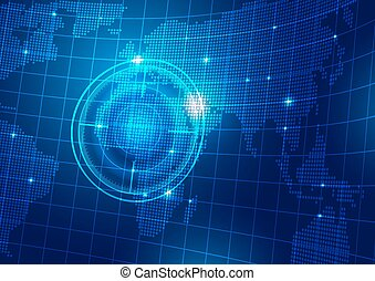 World Map with Technology Blue Background
