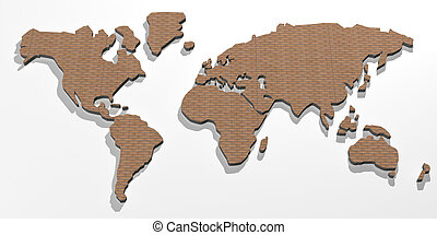world map with wood texture