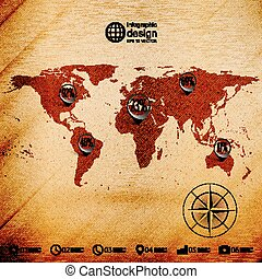 World map, wooden design background, infographics vector illustration
