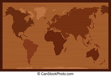 World Map Wooden Inlay Style