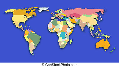 World map - world map with colored regions