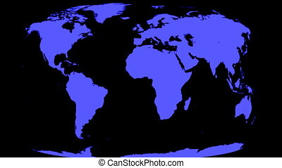 World map wrapps around spinning Globe. Classic TV news style. You can change color, hue or lightness in your favourite video editing software. You can also use the clip as a matte to change background.